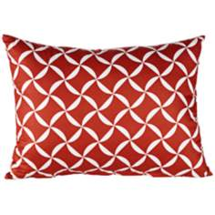 "Elizabeth Geometric 18"" Wide Red Lumbar Pillow"