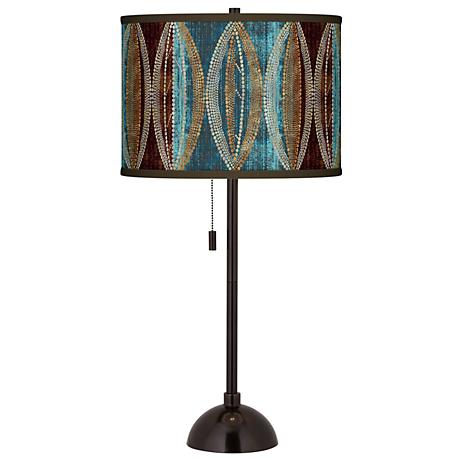Stacy Garcia Pearl Leaf Peacock Bronze Club Table Lamp