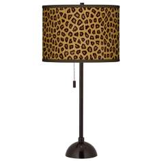 Safari Cheetah Giclee Glow Tiger Bronze Club Table Lamp