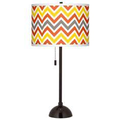 Flame Zig Zag Giclee Glow Tiger Bronze Club Table Lamp