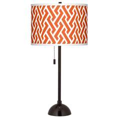 Red Brick Weave Giclee Glow Tiger Bronze Club Table Lamp