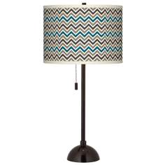 Zig Zag Giclee Glow Tiger Bronze Club Table Lamp