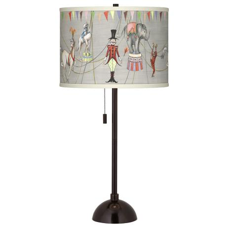 Circus Time Giclee Glow Tiger Bronze Club Table Lamp
