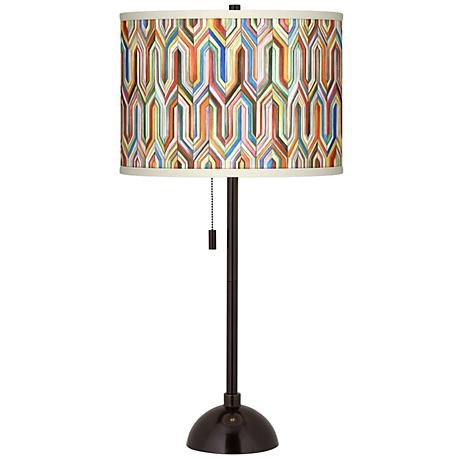 Synthesis Giclee Glow Tiger Bronze Club Table Lamp
