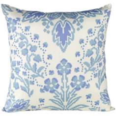 "Marilyn 18"" Square Light Blue Floral Throw Pillow"