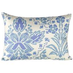 "Marilyn 18"" Wide Light Blue Floral Lumbar Pillow"