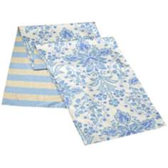 Marilyn Blue Reversible Floral - Striped Queen Bed Runner