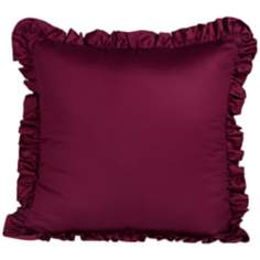 "Emma 18"" Square Ruffled Purple Throw Pillow"