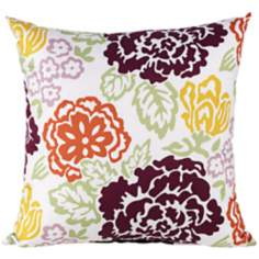 "Emma 18"" Square Purple Floral Throw Pillow"