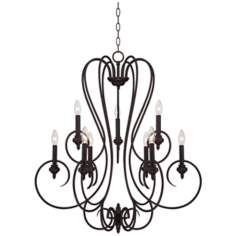 Channing 9-Light Wide Bronze Scroll Chandelier