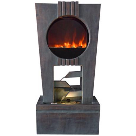 Cascading Outdoor LED Fireplace Fountain