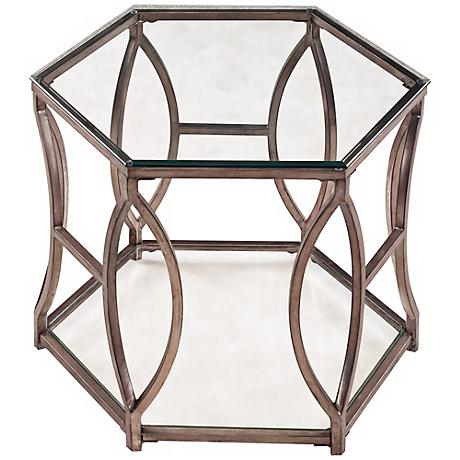 Nevelson Hexagonal Antique Silver End Table