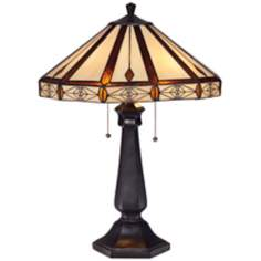 Octagon Mission Art Glass Bronze Table Lamp