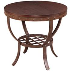 Sierra Wood and Metal Round End Table