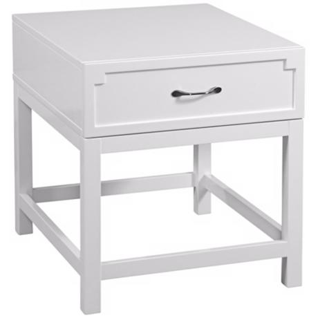 Zoe Rectangular White Lacquer End Table