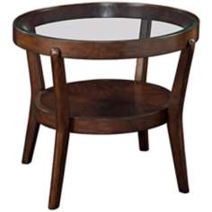 Priazzo Round Walnut and Glass End Table