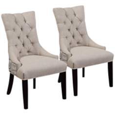 Tufted Scripted Linen Parsons Chair with Wood Legs