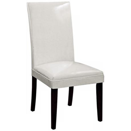 Ivory Bonded Leather Classic Parson Chair