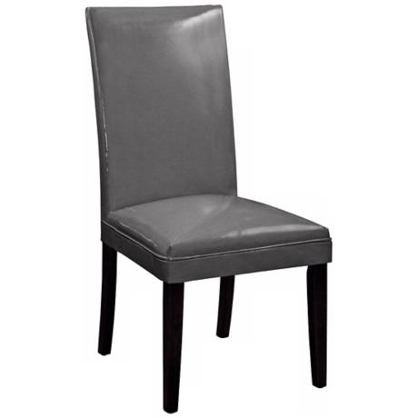 Grey Bonded Leather Classic Parson Chair