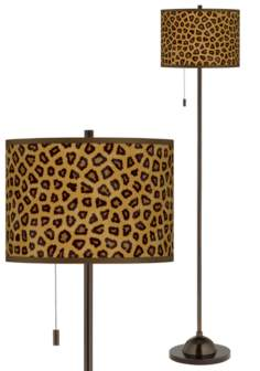Safari Cheetah Giclee Glow Bronze Club Floor Lamp
