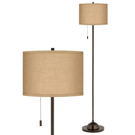 Woven Burlap Bronze Club Floor Lamp