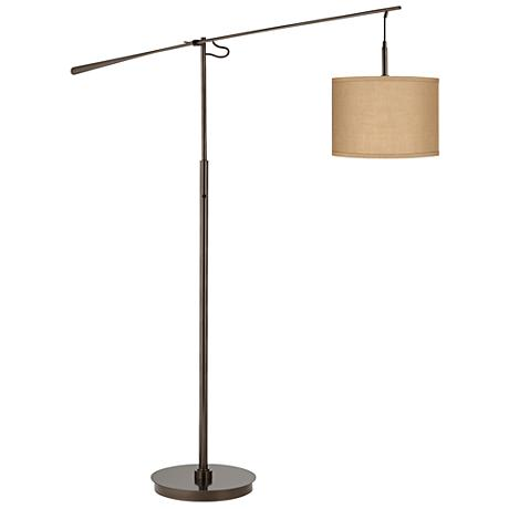 Woven Burlap Bronze Balance Arm Floor Lamp