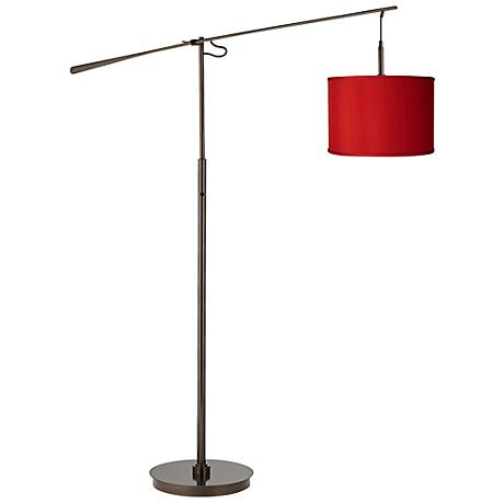 China Red Textured Silk Bronze Balance Arm Floor Lamp