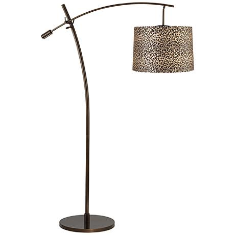 Tara Leopard Print Shade Balance Arm Arc Floor Lamp