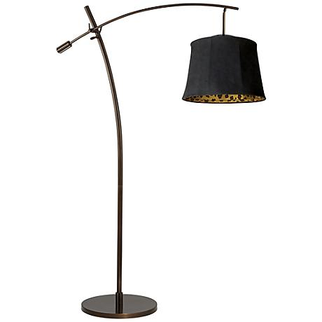 Tara Black Faux Suede Shade Balance Arm Arc Floor Lamp