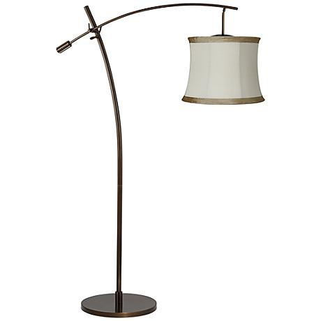 Tara Ivory Linen Taupe Shade Balance Arm Arc Floor Lamp