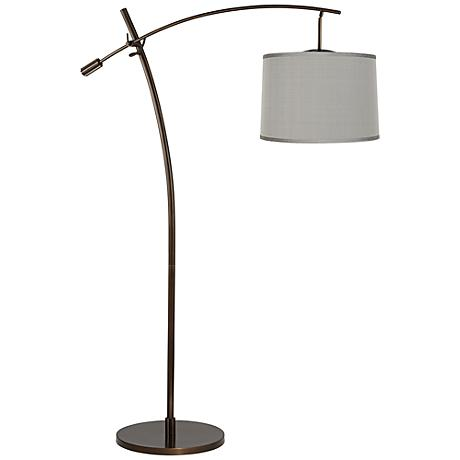 Tara Platinum Gray Dupioni Balance Arm Arc Floor Lamp