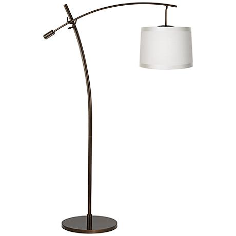 Tara Off-White Shade Balance Arm Arc Floor Lamp