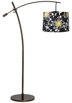 Tara Black and Olive Shade Balance Arm Arc Floor Lamp