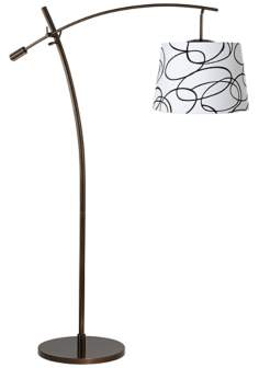Tara Squiggle Shade Balance Arm Arc Floor Lamp