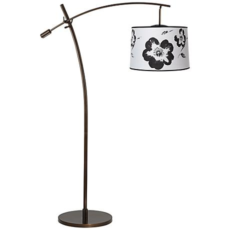 Tara Black and White Flower Balance Arm Arc Floor Lamp