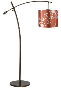 Tara Rust Satin Leaf Shade Balance Arm Arc Floor Lamp