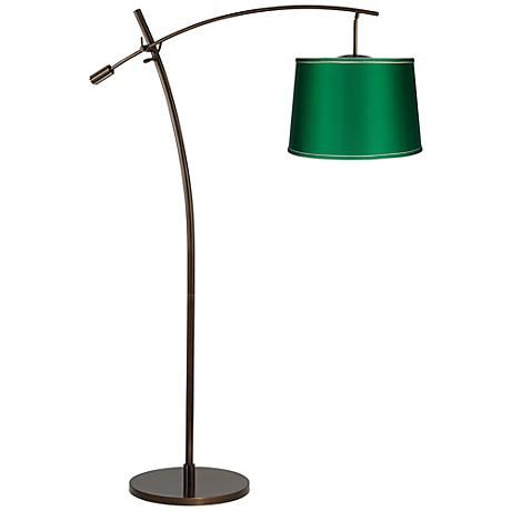 Tara Emerald Green Drum Shade Balance Arm Arc Floor Lamp