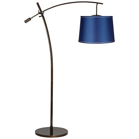 Tara Medium Satin Blue Shade Balance Arm Arc Floor Lamp