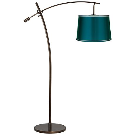 Tara Teal Satin Shade Balance Arm Arc Floor Lamp