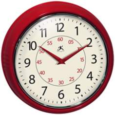 "Retro 9 1/2"" Wide Red Wall Clock"