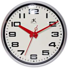 "Lexington Ave. 15"" Round Red and Matte Silver Wall Clock"
