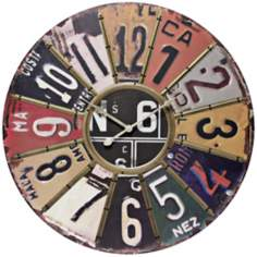 "Traveler 24"" Round License Plate Wall Clock"