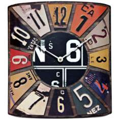 "Peddler 14"" High License Plate Clock"