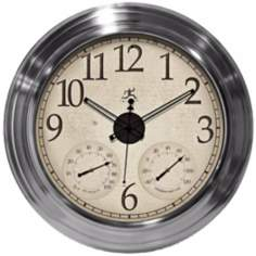 "Solar Flare 24 1/2""W Indoor/Outdoor Nickel Wall Clock"