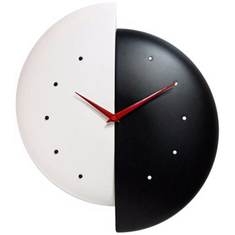 Black and white wall clock. Resin construction. Open face design. Red