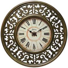 "Crescendo 26"" Wide Scroll Design Gold Wall Clock"