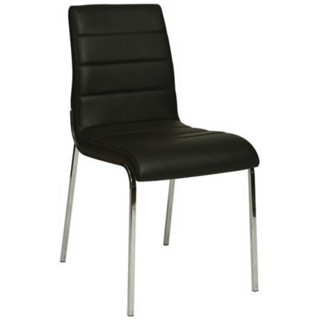 Fort James Black Faux Leather Side Chair