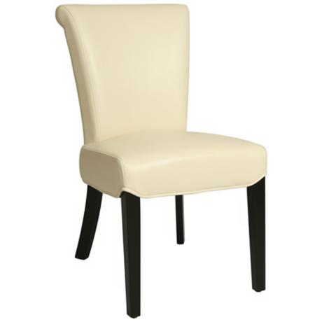 Hannah White Bonded Leather Side Chair
