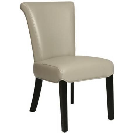 Hannah Light Gray Bonded Leather Side Chair