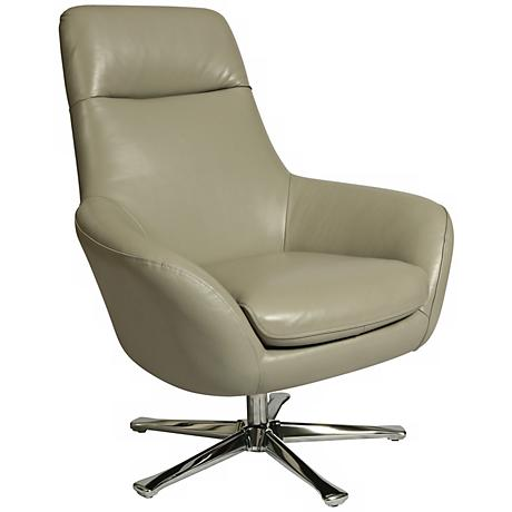 Impacterra Ellejoyce Light Gray Leather Club Chair